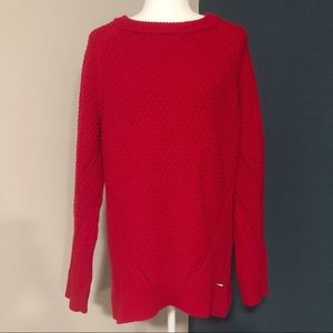 Calvin Klein red knit oversized sweater